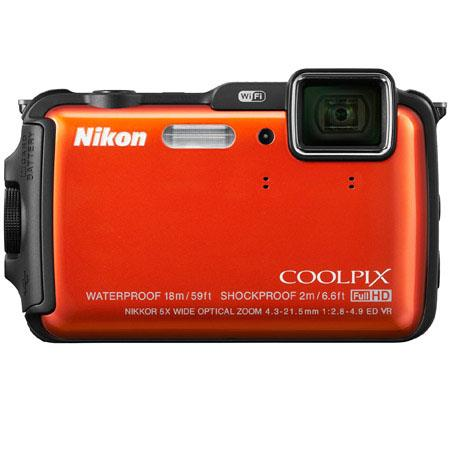Nikon CoolpiAW Digital Camera MPOptical Zoom OLED Display HDMIUSB Wi Fi GPS Electronic Compass Water 255 - 25