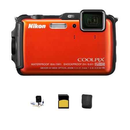 Nikon CoolpiAW Digital Camera MPOptical Zoom Bundle GB class SDHC Card Camera Case Cleaning Kit 255 - 25
