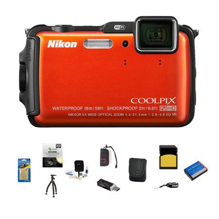 Nikon CoolpiAW Digital Camera MPOptical Zoom Orange Bundle GB class SDHC Card Camera Case Spare Batt 243 - 448
