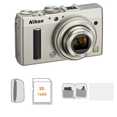 Nikon CoolpiA Digital Camera Megapixel Silver Bundle LowePro Camera Pouch Lexar GB PLat SDSDHC Card  207 - 789