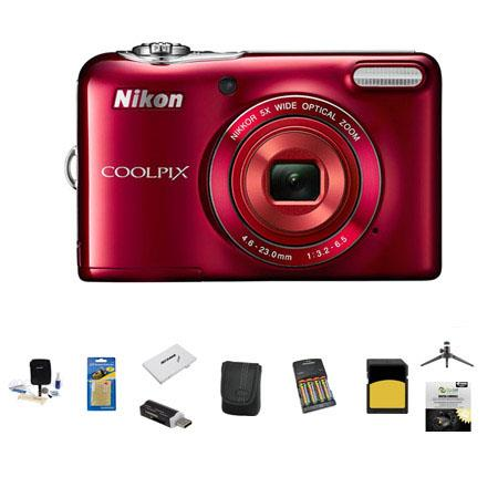 Nikon CoolpiL Digital Camera MPOptical Zoom Bundle GB Class SDHC Memory Card LowePro Case New Leaf Y 55 - 136