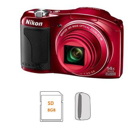 Nikon CoolpiL Digital CameraOptical Zoom NIKKOR ED Glass Lens Bundle Kingston SDGB GB Class SDHC Mem 60 - 270