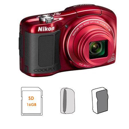 Nikon CoolpiL Compact Digital Camera MPOptical Zoom RED Bundle GB SDHC HS Memory Card LowePro Dublin 129 - 556