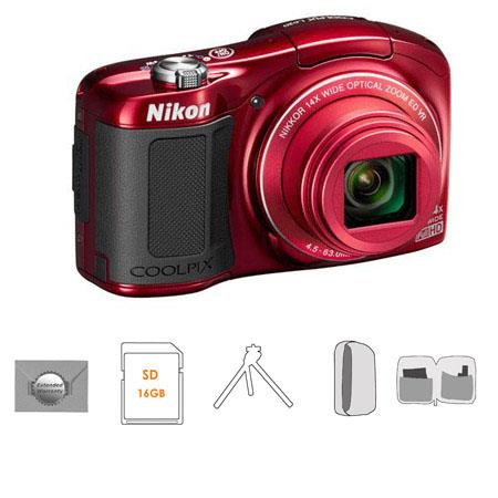 Nikon CoolpiL Compact Digital Camera MPOptical Zoom RED Bundle GB SDHC HS Memory Card New Leaf Year  215 - 445