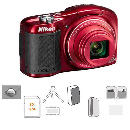 Nikon CoolpiL Compact Digital Camera MPOptical Zoom RED Bundle GB SDHC HS Memory Card New Leaf Year  167 - 644
