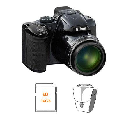Nikon CoolpiDigital Camera Dark BUNDLE GB SDHC Memory Card and Camera Pouch 103 - 296