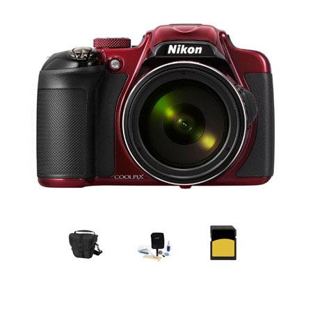 Nikon CoolpiDigital Camera MPOptical Zoom RED Bundle LowePro TLZ Holster Case GB Class SDHC Card Cle 72 - 736