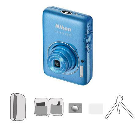 Nikon CoolpiS Megapixel Digital CameraOptical Zoom Blue Bundle Lowe Pro Camera Pouch New Leaf Year W 123 - 680