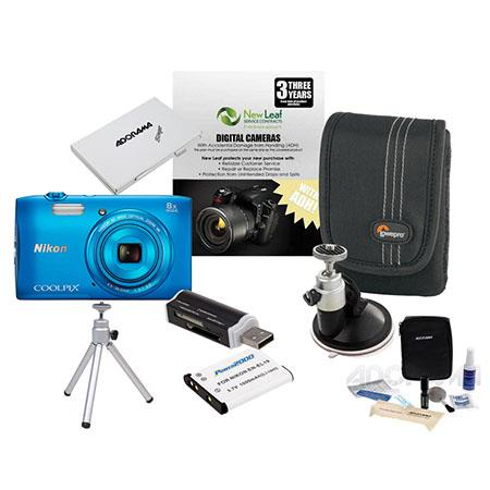 Nikon CoolpiS Digital Camera MP Blue Bundle GB Class SDHC Memory Card Spare Battery LowePro Case New 109 - 453