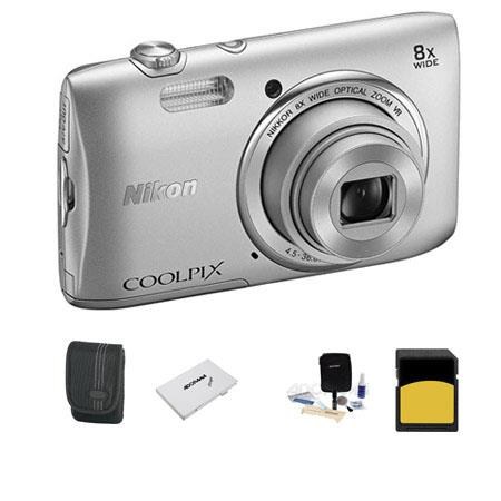 Nikon CoolpiS Digital Camera MP Silver Bundle GB Class SDHC Memory Card LowePro Case Cleaning Kit SD 78 - 747