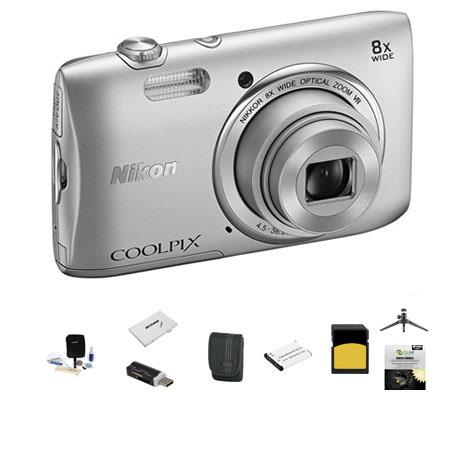 Nikon CoolpiS Digital Camera MP Silver Bundle GB Class SDHC Memory Card Spare Battery LowePro Case N 109 - 453