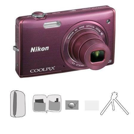 Nikon CoolpiS Digital Camera MegapixelOptical Zoom Plum Bundle Lowe Pro Camera Pouch New Leaf Year E 163 - 208