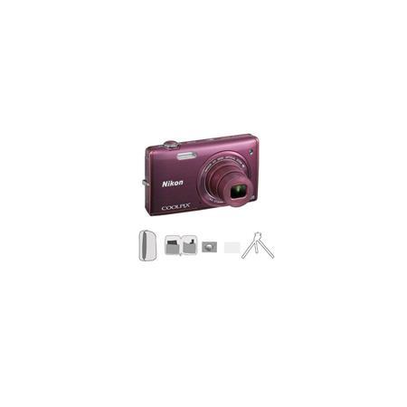 Nikon CoolpiS Digital Camera MegapixelOptical Zoom Plum Bundle Lowe Pro Camera Pouch New Leaf Year E 233 - 115
