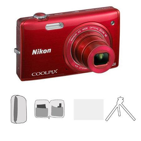 Nikon CoolpiS Digital Camera MegapixelOptical Zoom RED Bundle Lowepro Camera Pouch Cleaning Kit Scre 66 - 359
