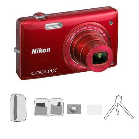 Nikon CoolpiS Digital Camera MegapixelOptical Zoom RED Bundle Lowe Pro Camera Pouch New Leaf Year Ex 233 - 115