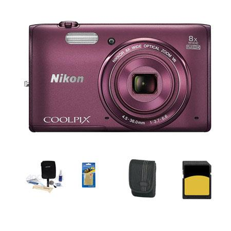Nikon CoolpiS Digital Camera MP Bundle GB Class SDHC Memory Card LowePro Case Cleaning Kit Screen Pr 97 - 267