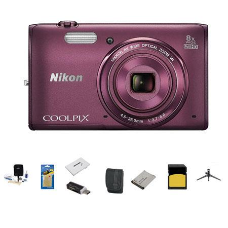 Nikon CoolpiS Digital Camera MP Bundle Sandisk GB Class SDHC Memory Card LowePro Case Spare battery  70 - 77