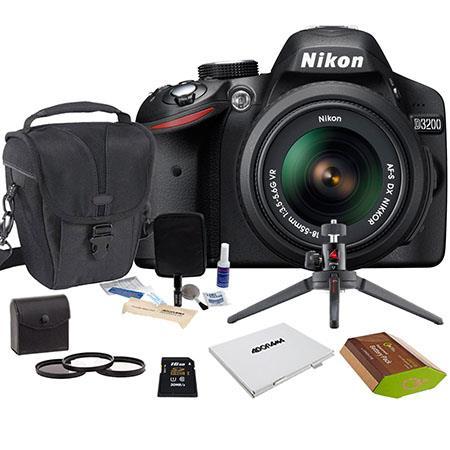 Nikon D Digital SLR Camera NIKKOR VR Lens Bundle GB SD Memory Card Camera Holster Bag Pro Optic Filt 119 - 494