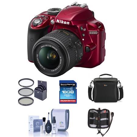 Nikon D MP DX Format DSLR Camera Body f G VR Lens RED Bundle Sandisk GB CL SDHC Card LowePre Shoulde 12 - 776