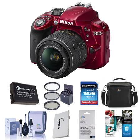 Nikon D MP DX Format DSLR Camera Body f G VR Lens RED Bundle Sandisk GB Extreme CL SDHC Card LowePre 122 - 296