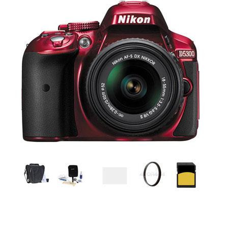 Nikon D MP DX Format Digital SLR Camera AF S DX NIKKOR f G VR Lens RED Bundle Slinger Holster Bag GB 56 - 558