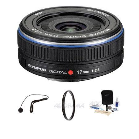 Olympus M Zuiko Digital f Micro Four Thirds System Lens Bundle Tiffen UV Filter Lens Cap Leash Profe 51 - 217