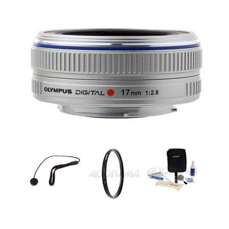 Olympus M Zuiko Digital f Silver Micro Four Thirds System Lens Bundle Tiffen UV Filter Lens Cap Leas 311 - 26
