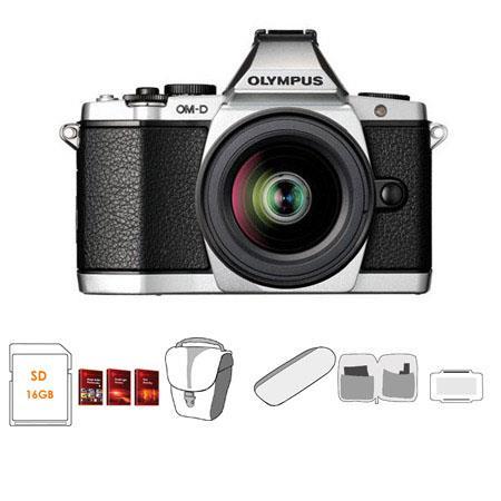 Olympus OM D E M Mirrorless Digital Camera Silver Olympus f EZ Zoom Lens Bundle GB SD Memory Card Ca 156 - 56