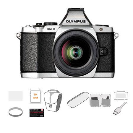 Olympus OM D E M Mirrorless Digital Camera Silver Olympus f EZ Zoom Lens Bundle GB SDHC Card Carry C 75 - 671