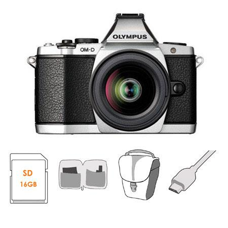 Olympus OM D E M Mirrorless Digital Camera Silver Olympus f EZ Zoom Lens Bundle SanDisk GB Extreme S 124 - 321