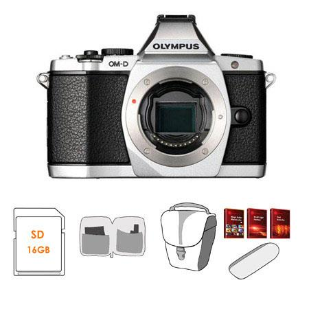 Olympus OM D E M Mirrorless Digital Camera Silver Bundle GB SD Memory Card Camera Case USB Card Read 58 - 673