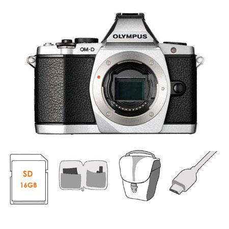 Olympus OM D E M Mirrorless Digital Camera Silver Bundle SanDisk GB SDHC Card Olympus Mini Messenger 33 - 225