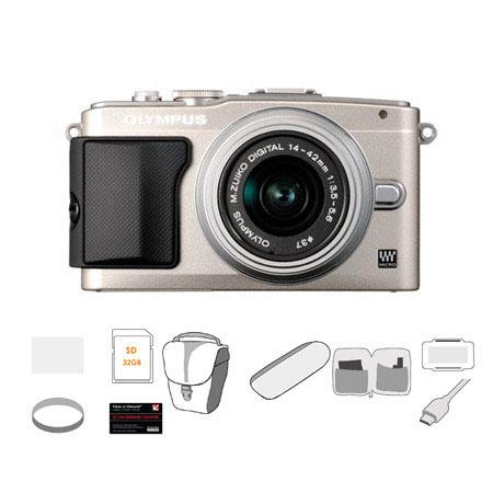 Olympus E PL Mirrorless Digital Camera f Lens Silver Bundle GB SDHC Memory Card Carry Case Cleaning  132 - 543