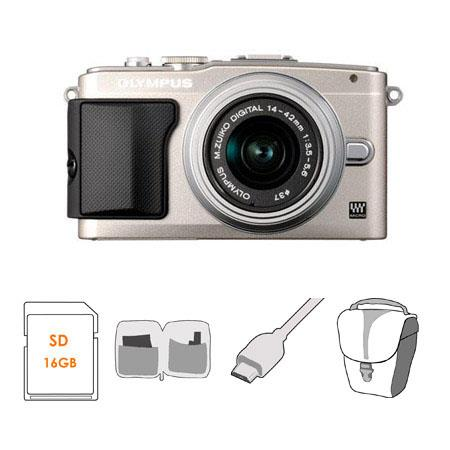 Olympus E PL Mirrorless Digital Camera f Lens Silver Bundle GB Class SDHC Memory Card Olympus Mini M 87 - 793