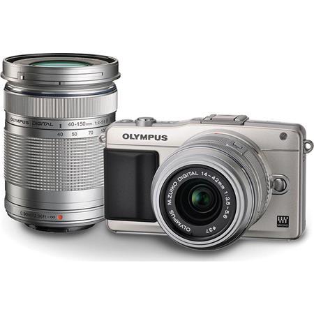 Olympus E PM Mirrorless Digital Camera Silver Two Lens Kit Olympus f R Lens Silver ED f R Lens Silve 104 - 464