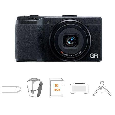 Ricoh GR Pocket Size Compact Digital Camera Bundle Flashpoint Mini Multi Card Reader Lexar GB Class  159 - 579