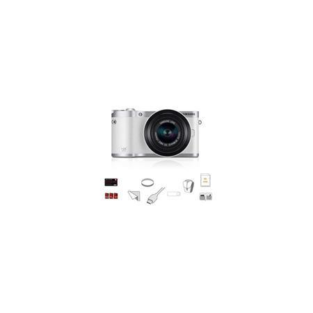 Samsung NX Mirrorless Digital Camera F ED Lens Silver BUNDLE wLexar GBSDHC Card Lens Cleaning Kit MC 66 - 424