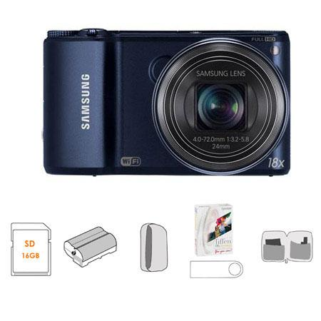 Samsung WBF Smart Digital Camera Cobalt Bundle Lowepro Dublin Camera Pouch GB SDHC Memory Card USB M 87 - 58