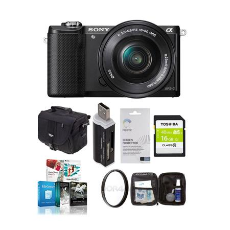 Sony Alpha A Mirrorless Digital Camera E Mount Lens Bundle Sony GB Class SDHC Card LowePro REZO TLZ  78 - 450