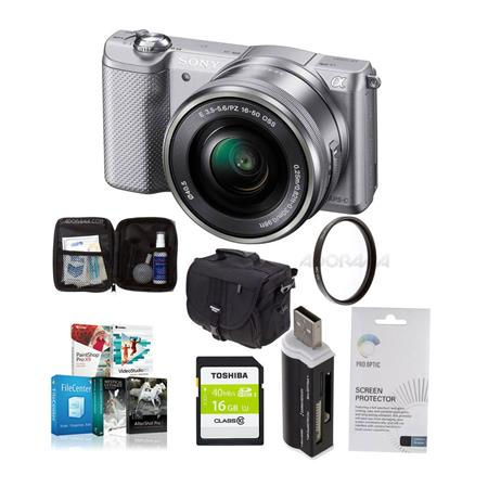 Sony Alpha A Mirrorless Digital Camera E Mount Lens Silver Bundle Sony GB Class SDHC Card LowePro RE 23 - 579