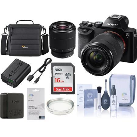Sony Alpha a Mirrorless Digital Camera FE f OSS Lens Bundle Lowepro TLZ Holster Case Sony GB UHS Cla 81 - 646