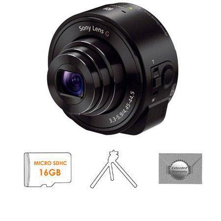Sony DSC QX Smartphone Attachable Lens Style Camera BUNDLE GB microSDHC Card Aluminum Tripod and New 280 - 150