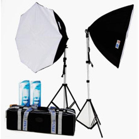JTL DL Fluorescent Soft BoKit Two W CFL Light Stands Carry Case Octagon Softboand Holder 72 - 563