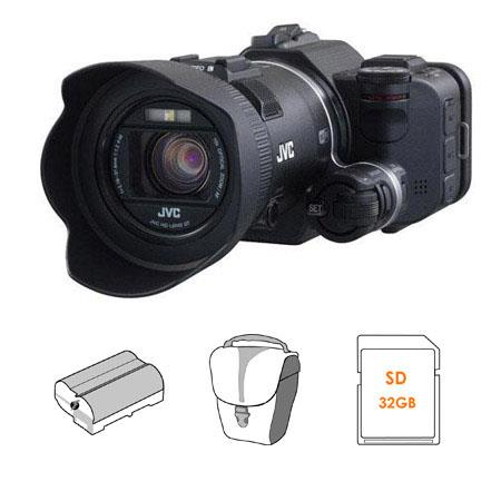 JVC GC PX Full HD Everio Camcorder BUNDLE Lowepro Edit Bag GB Class SDHC Card and JVC BNVF Spare Lit 93 - 343