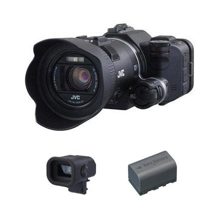 JVC GC PX Full HD Everio Camcorder BUNDLE JVC CU VFUS Color Viewfinder and Spare JVC BNVF Lithium Ba 192 - 602