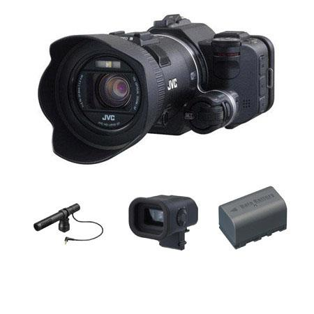 JVC GC PX Full HD Everio Camcorder Bundle CU VFUS Color Viewfinder MZ V Stereo Microphone and BNVF H 90 - 520
