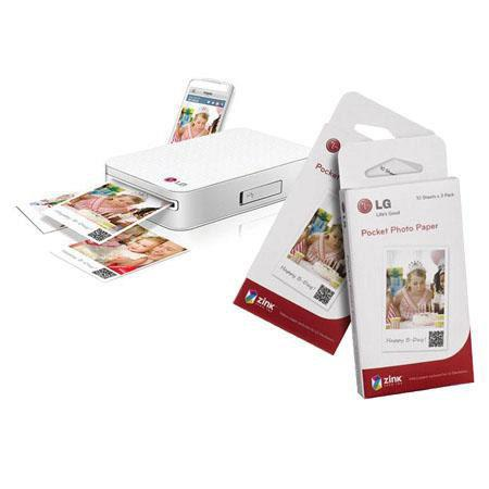 LG PD Pocket Photo Printer Smartphones Bundle Two Packs of LG Pocket Photo Paper Sheets each Total S 118 - 475