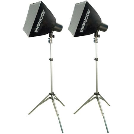 Adorama Budget Studio Monolight SoftboKit watt Second Budget Flashes Light Stands TwoSoftboxes 108 - 411