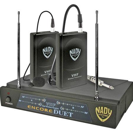 Nady Dual Channel VHF HM Uni Condenser Headset Wireless System Encore Duet Receiver WLT Headset Tran 63 - 218