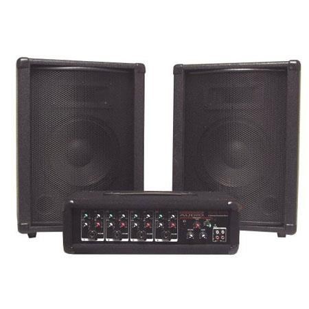 Nady MPM PA PA System Channel Powered Mixer and Two Speakers 62 - 443